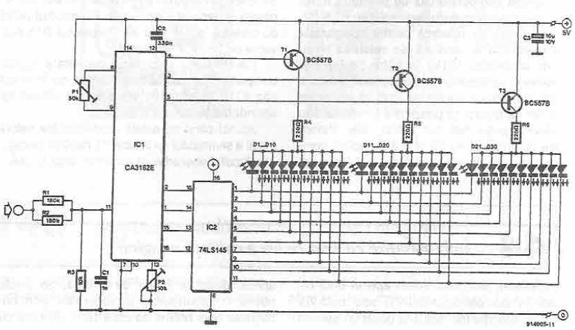 Schema mini Voltmetru cu CA3162