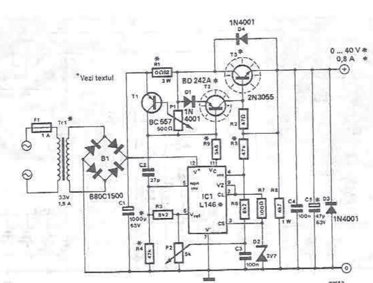Schema electronica Sursa reglabila 0 40 volti cu L146 LM723