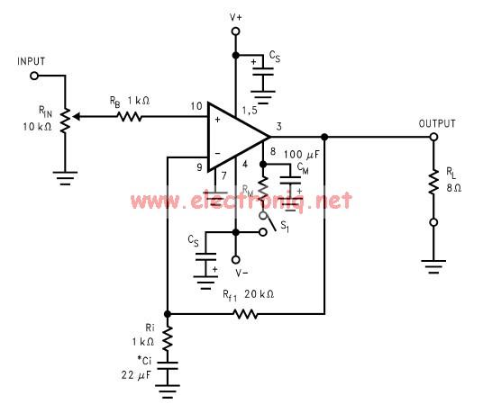 Schema electronica amplificator audio de putere mare cu LM3886 .