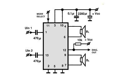 schema amplificator audio 2x40 watt cu TDA8560 pentru masina