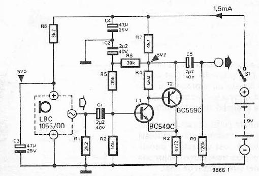 schema electronica amplificator microfon cu electret