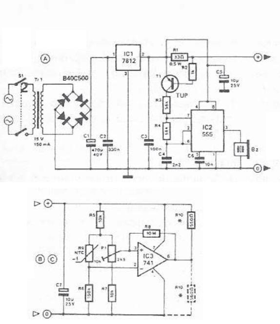 Circuit supraveghere temperatura schema electronica