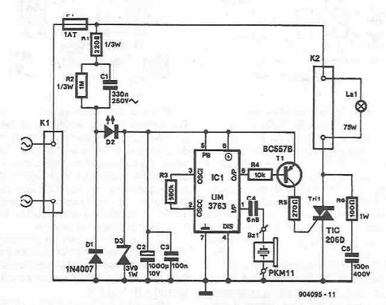 schema electronica circuit Comanda iluminat prin fluierat