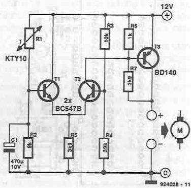 schema Circuit comanda ventilator 12v dc