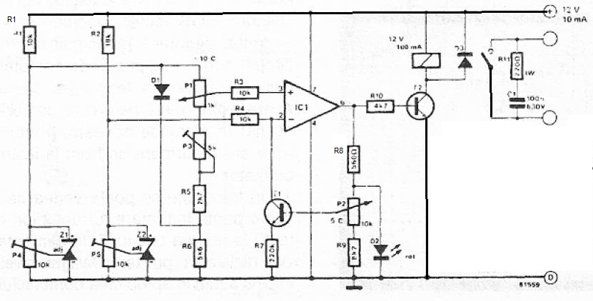 Circuit Comutator pentru diferente de temperatura schema