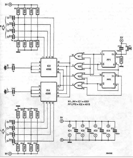 Schema comutator stereo pe patru canale pentru semnal audio