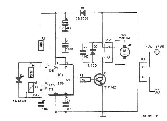 Schema regulator de turatie pentru motoarele de cc