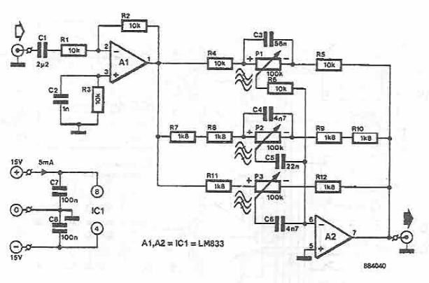 schema electronica Corector de ton cu LM833 si componente pasive