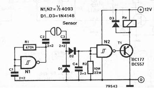 Schema electronica detector de lichide cu porti logice