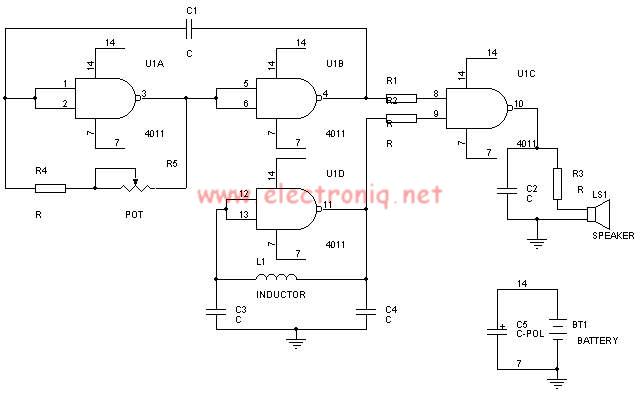 schema electronica Detector de metale cu MMC4011