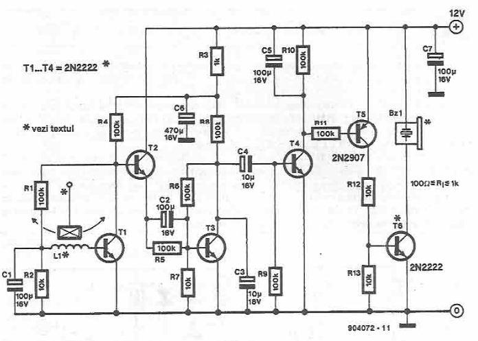 Schema detector de vibratii miscare cu tranzistori