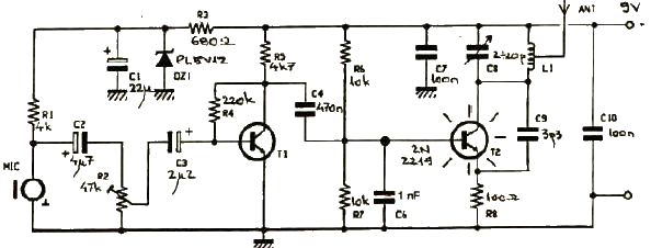 schema Miniemitator Fm 250mW cu tranzistori