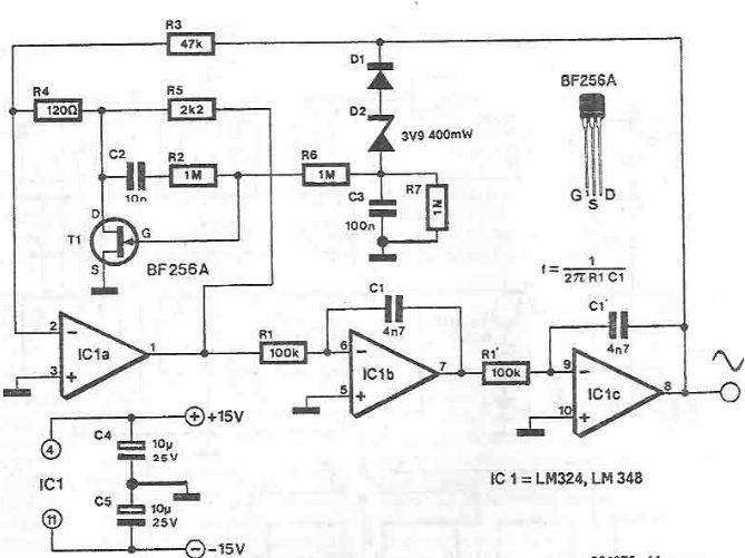 Schema electronica generator de semnal sinusoidal