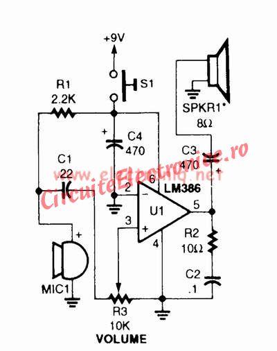 LM386 schema megafon amplificator