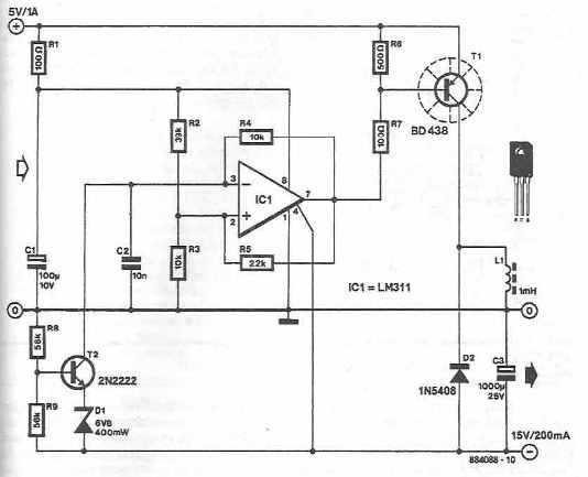 Schema convertor 5 -15V