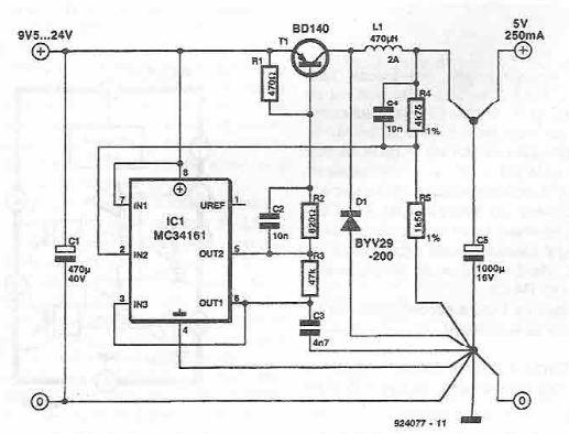 schema electronica Convertor 5v cu MC34161