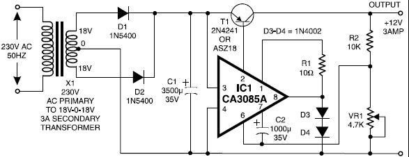 Schema pentru sursa de alimentare 12V 3A CA3085