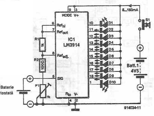 Tester baterii cu LM3914