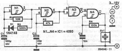 Schema circuit indicator de functionare cu CMOS