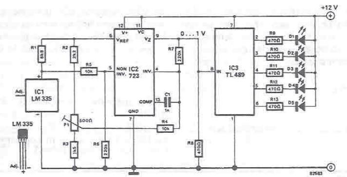 Schema electronica Indicator de temperatura cu led-uri