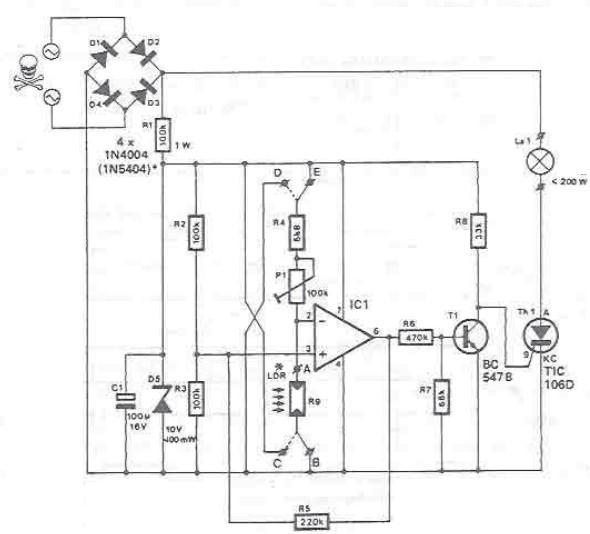 Schema electronica intreruptor fotosensibil