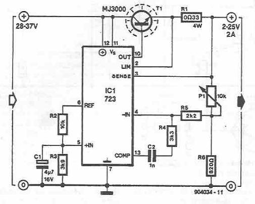 schema electronica Sursa reglabila LM723 2 25V 2A