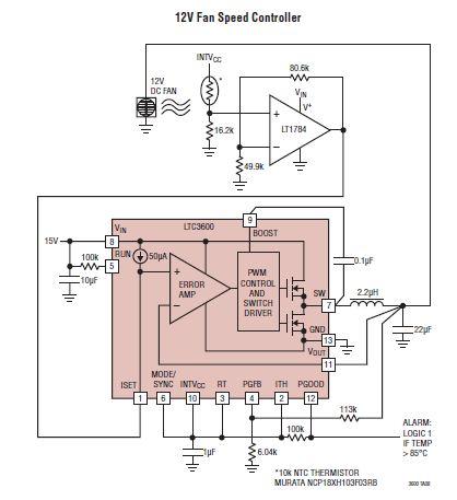 Schema electronica LTC3600 regulator viteza ventilator 12v