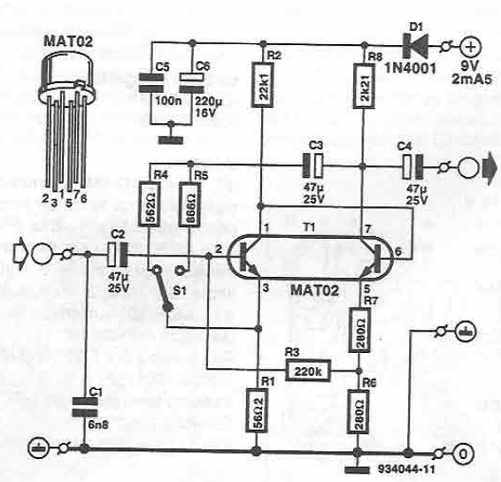 Schema amplificator microfon cu MAT02