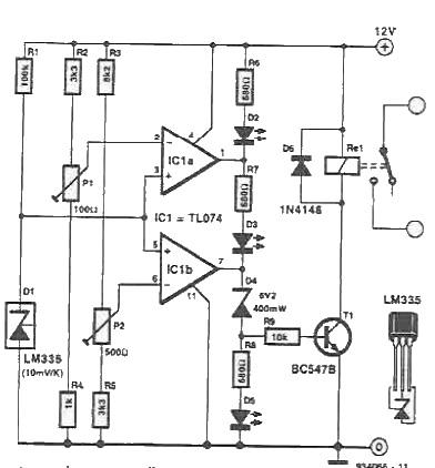 Schema releu actionat de temperatura