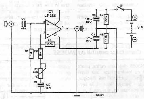 schema electronica circuit Preamplificator de chitara