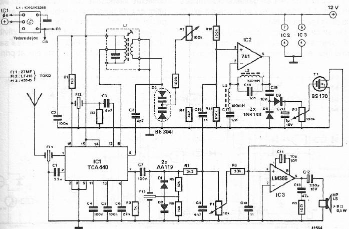 Schema electronica FM CB radio cu TCA440 pentru 27Mhz.