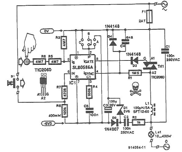 schema dimmer tactil al intensitatii luminii cu SLB0586A