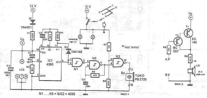 schema electronica Avertizor electronic cu buzzer piezo