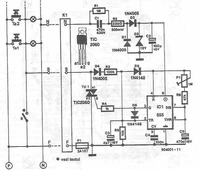 Schema circuit iluminarea scara cu timer 555