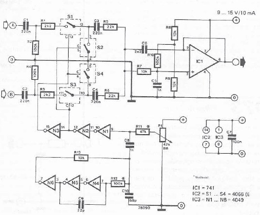 Schema electronica pupitru de mixaj cu doua canale