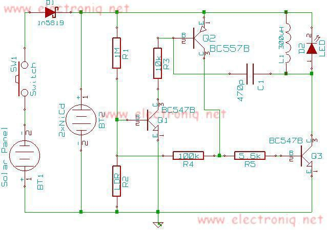 Schema lampa solara cu incarcare solara