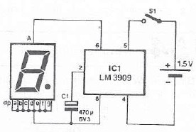 Schema electronica LM3909 indicator LED intermitent