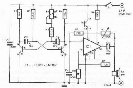 Schema sirena electronica cu LM389