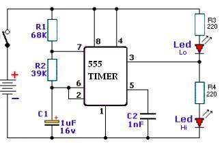 Schema Tester timer 555 cu componente pasive