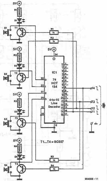 Schema electronica selector de canale cu patru pozitii