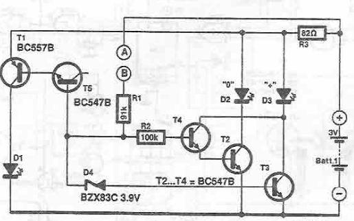 Sonda de test cu tranzistori schema circuit