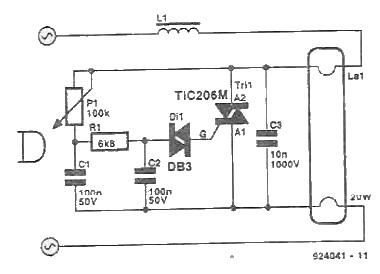 circuit electronic de reglare a  intensitatii luminoase a unui tub cu neon