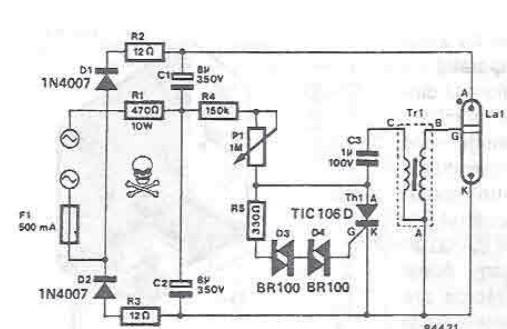 Schema electronica Stroboscop cu xenon