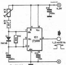 schema Generator de impulsuri pentru servomecanisme cu timer 555