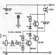 Schema amplificator audio de mica putere cu tranzistori