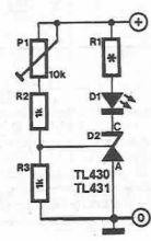 schema Indicator de tensiune maxima minima cu TL430 TL431