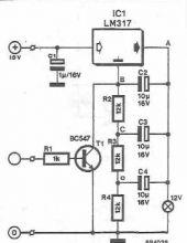 schema electronica Avertizor optic cu Lm317