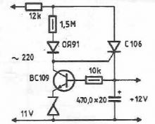 schema electronica Sursa stabilizata fara transformator cu tiristor