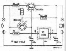 schema Sursa 5V 3A cu 7805