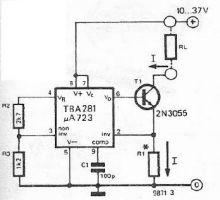 schema Sursa de curent constant cu LM723